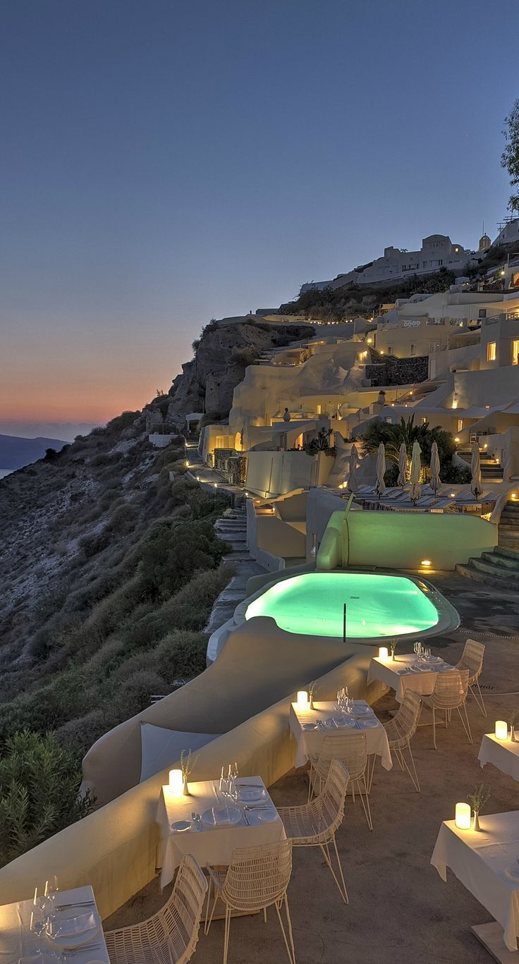 Mystique hotel - Santorini, Greece. #Travel #Mystique #hotel #Santorini #Greece #Adventure #Night #Beautiful