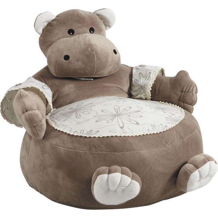 Fauteuil Pouf Hippopotame en Coton et Peluche 50x50x55cm sur Jardindeco