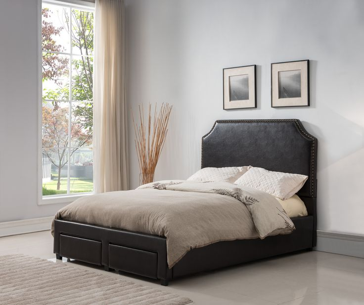 Faux Leather Dark Brown Nailhead Platform Bed Full
