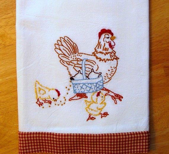 Mother Hen hand embroidered tea towel