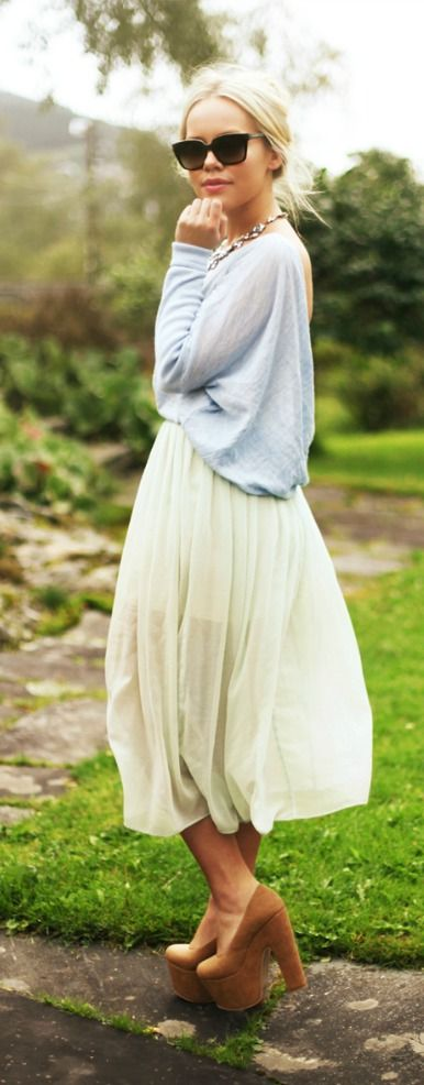 Flowing midi skirt and slouchy powder blue sweater