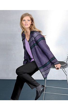Tweed jacket in an airy textured fabric with black piping. Round neck with open front design. <br />
