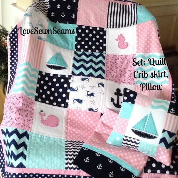 CRIB Set/SAILBOAT SEAHORSE Whale Anchor in Pink by Lovesewnseams