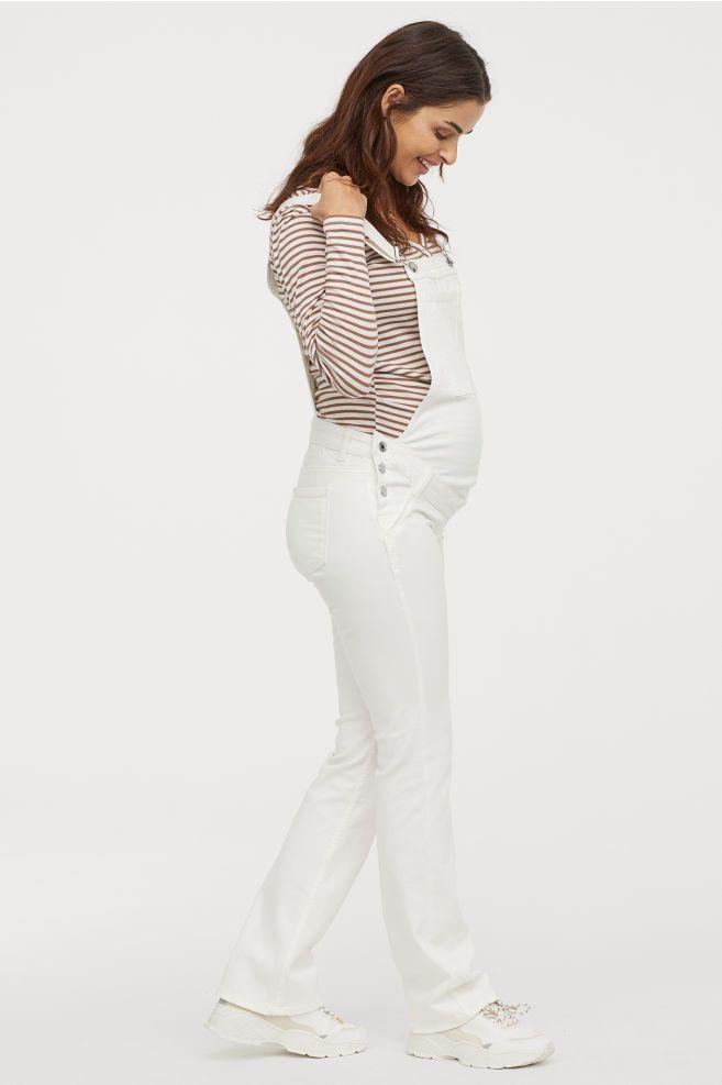 9565a79a7098 MAMA Denim Bib Overalls - White - Ladies