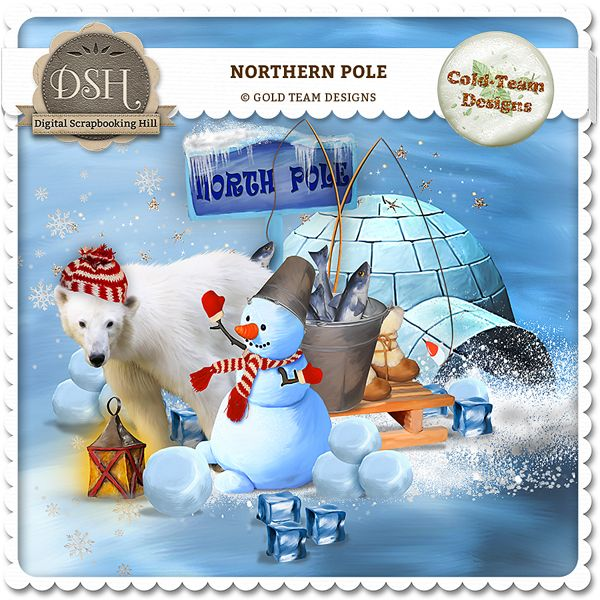 Northern pole by Gold Team : Digital Scrapbooking Hill | DSH - commercial and personal use site