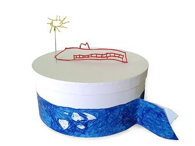 box, baptism, sea wales, kid's drawing, white, sun, sea, boat