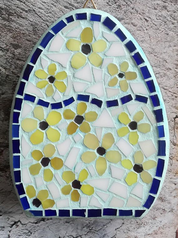 Egg shaped mosaic stained glass decor for Easter holiday