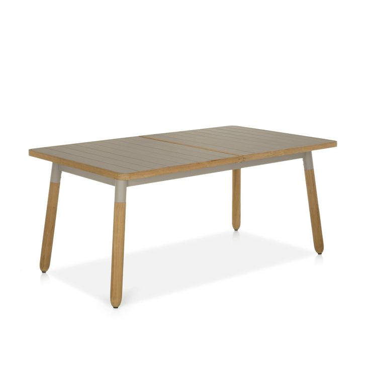 Table allonge papillon de 6 8 couverts taupe naturel for Table 6 couverts