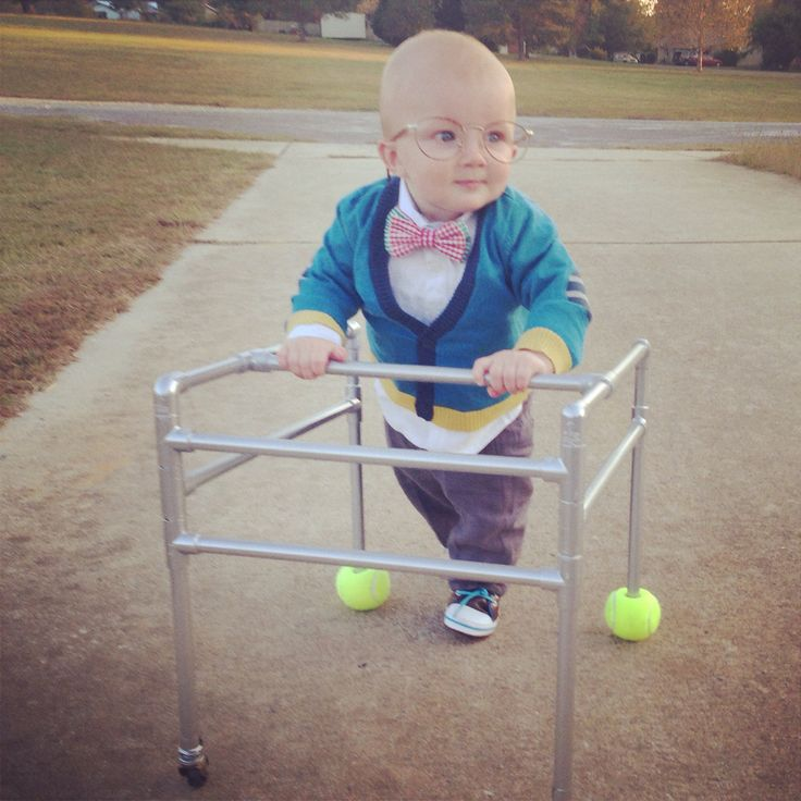 Baby Dressed As Old Man For Halloween Homemade Walker