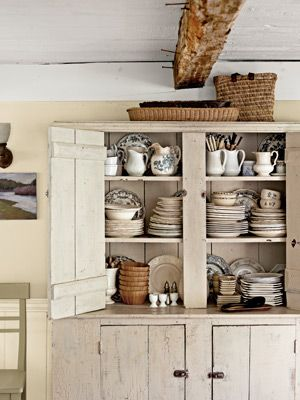 Antique pine cupboard circa-1870 - distressed by rubbing coffee grounds into the cracks.
