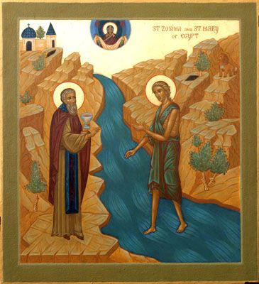 St. Mary miraculously crossing the Jordan River to receive the Holy Mysteries from St. Zosimas