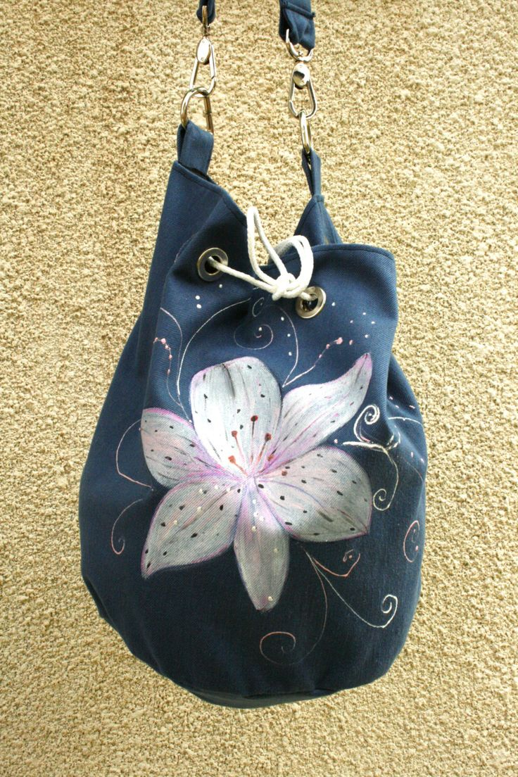 Vegan hand painted cotton blue white lily shoulder bag by AtelierGOBI on Etsy