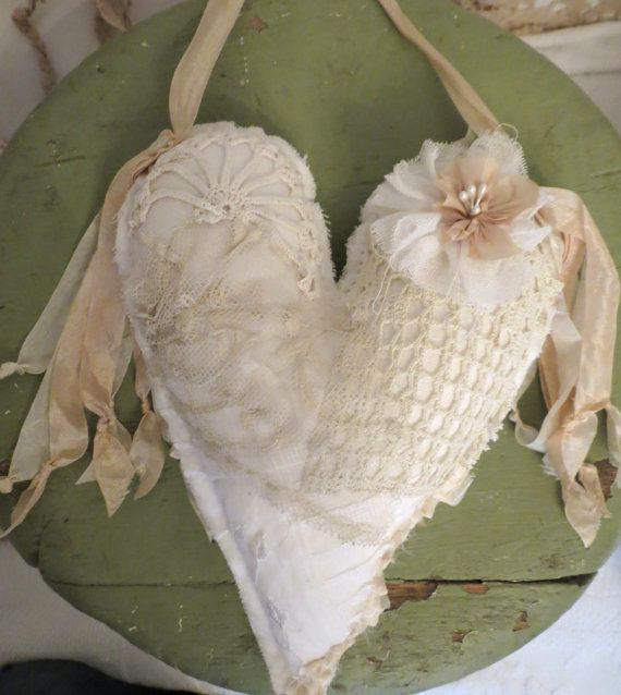 fabric and lace heart by Sandra Blanks - Heart covered in antique laces and crochet -tatteredlaces Etsy shop