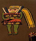 Paracas textil. Paracas culture 800 AC-100 BC. - Stock Photo