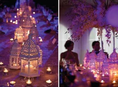 Duizend-en-een-nacht... Deze bruiloft wordt een echt sprookje met de vele exotische lantaarns en kaarsjes. Oosterse kussens op de grond en lekkere kleine hapjes, maken het helemaal af.