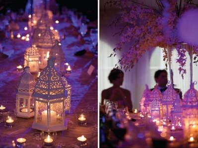 An exotic dream is this candle lit wedding dinner... Add a finishing touch with beautiful big pillows on the floor, delicious finger food and authentic live musicians.