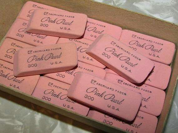PINK PEARL ERASERS - NO DELETE KEY BACK THEN