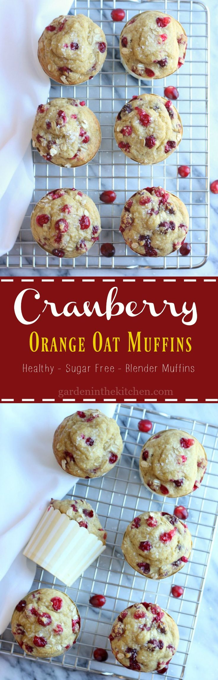 Cranberry Orange Oat Muffins | gardeninthekitchen.com