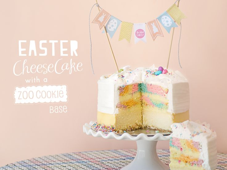 Easter Cheesecake with Zoo Cookie base   The Velvet Cake Co
