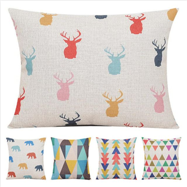 "Oh Deer Nordic Scandinavian Throw Pillow Cushion Cover 17""x17"" Decorative Accent Home Nursery Bedroom Decor"