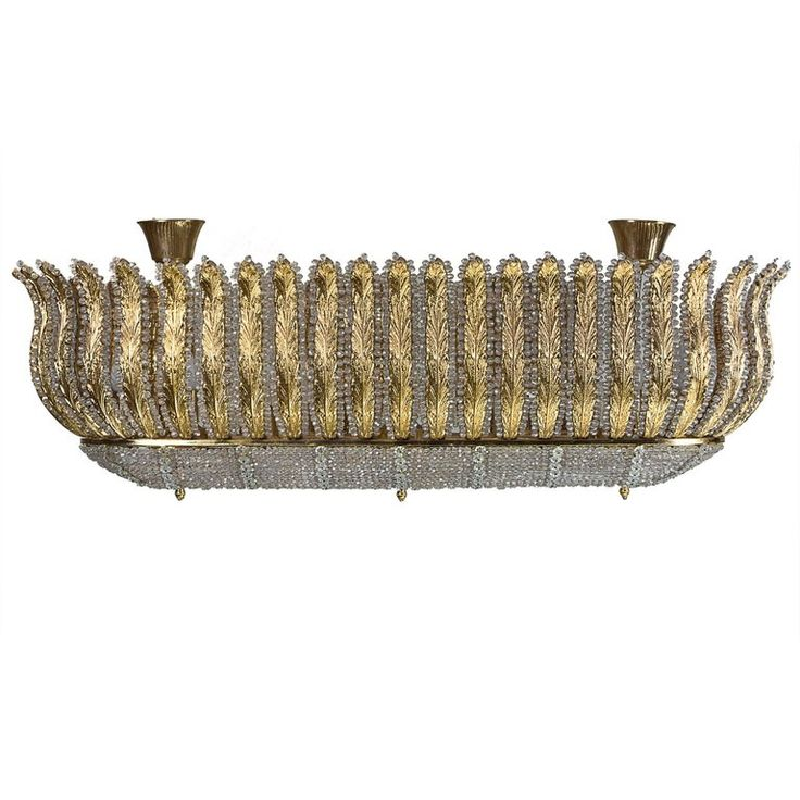 Art Deco Murano Gold Gilt Chandelier | From a unique collection of antique and modern flush mount at https://www.1stdibs.com/furniture/lighting/flush-mount-ceiling-lights/