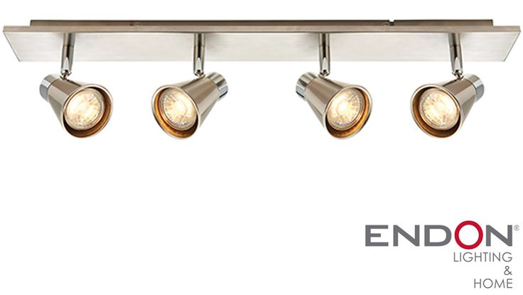 Endon 'Hyde' LED 4 Light Bar Spotlight, Satin Nickel & Chrome Plate - 59942…