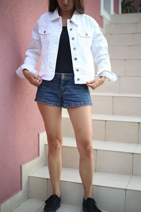 Vintage Woman White Denim Jacket Vintage Jeans Hipster Beige Jacket 90s Rock Grunge Hippie Street Urban Steampunk Jacket Vintage Jean Jacket Jean Jacket For Girls Denim Outfit Hippie Style Clothing
