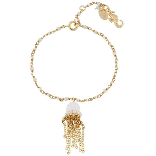 Les Néréides ATLANTIDE JELLYFISH AND CHAIN WITH  FRESHWATER PEARLS... ($171) ❤ liked on Polyvore featuring jewelry, bracelets, jewelry bracelets, white, polish jewelry, freshwater pearl jewelry, les nereides jewelry, octopus jewelry and fresh water pearl jewelry