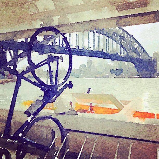 Commuting #ferry #sydneyaustralia #cycling #watercolour #australia #sydneyharbour #sydneyharbourbridge