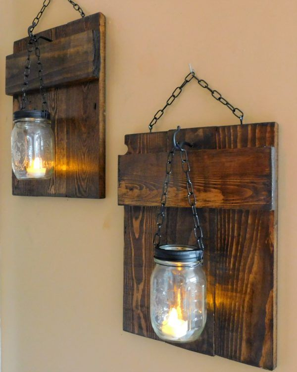 Rustic Pallet Sconces Candle Holders Wall Decor & Painting
