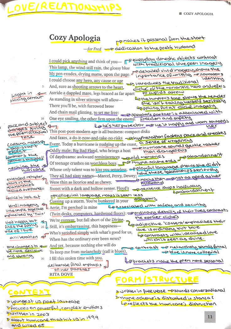 Cozy apologia by Rita Dove annotation analysis exam board