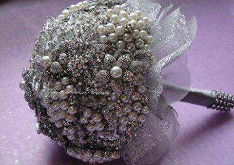 Silver Brooch Bridal Bouquet – Baroque Bridal Boutique