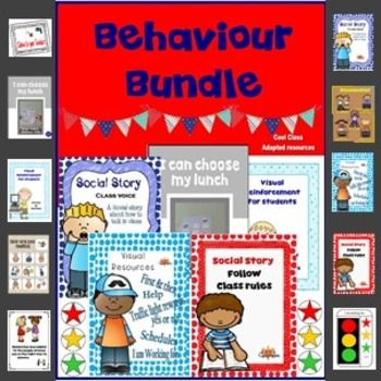 A Fantastic Behaviour Bundle for positive reinforcementwith visuals for Behaviour management.TRIED AND TESTED strategies for students with Special needs.PLUS -  NEW BEHAVIOUR REFLECTION SHEET ADDED.Token rewards, social stories,first and then, traffic light working for, visual supports for food choice, help, yes/no, wait and much more!Save $ by purchasing behaviour products in one bundle like this,included :-              1.