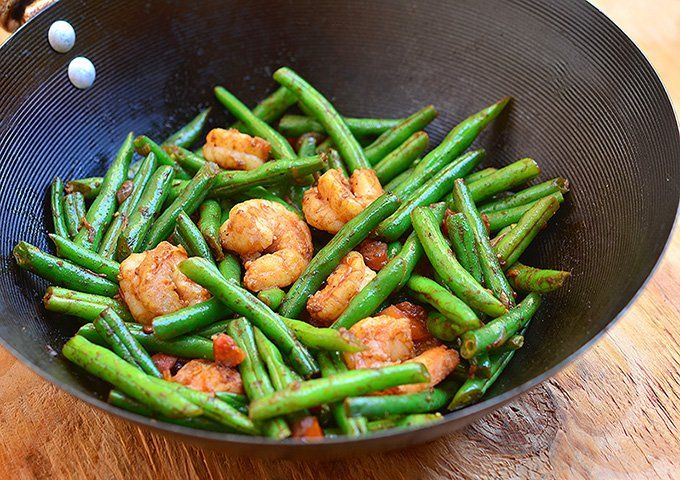 "Green Bean and Shrimp Stir-fry.  [Made 8-1-16.  Quick summer meal with ingredients on hand.  Cut green beans into 1"" pieces and used salad shrimp. -hn]"