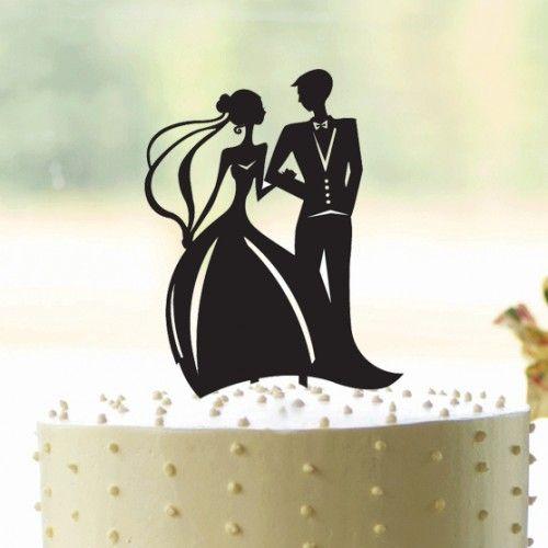 Bride & Groom acrylic wedding cake topper