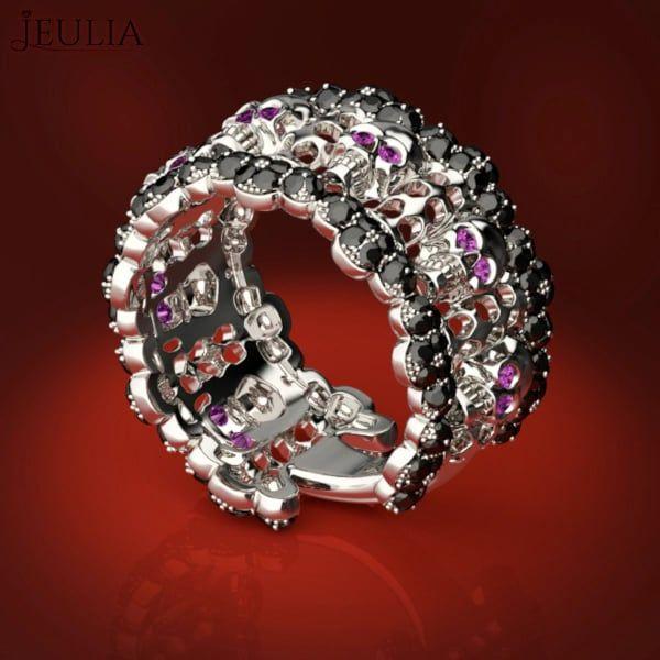 Pink Black Skull Rings: 360 View Of Black Diamond & Pink Sapphire Skull Ring