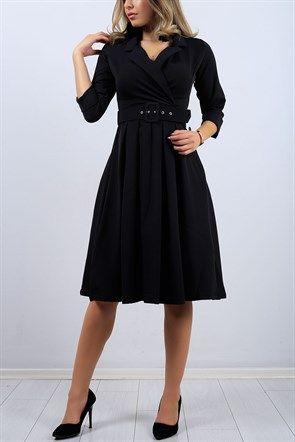 ba2dc6f402bbc Truvakar Kol Kruvaze Yaka Siyah Bayan Elbise9425B | Elbise Modelleri ...