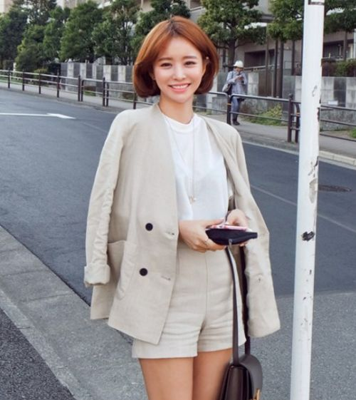 [11STREET] DOUBLE BREASTED COLLARLESS BLAZER