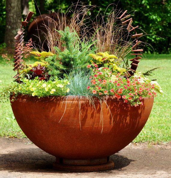 "Industrial Metal Planter - 41"" Large Planter - Metal Planter - Rustic Pot - Driveway Planter - Garden Planter_$580 plus $200 ship from Atlanta"