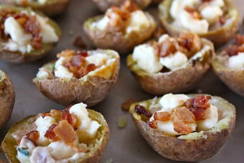 OMG. Poutine potato skins -- handheld potato skins with cheese curds, gravy and bacon (minus the bacon)