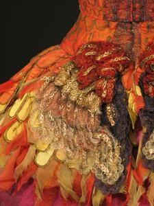 """Close up of Margot Fonteyn's """"Firebird"""" costume 1954"""
