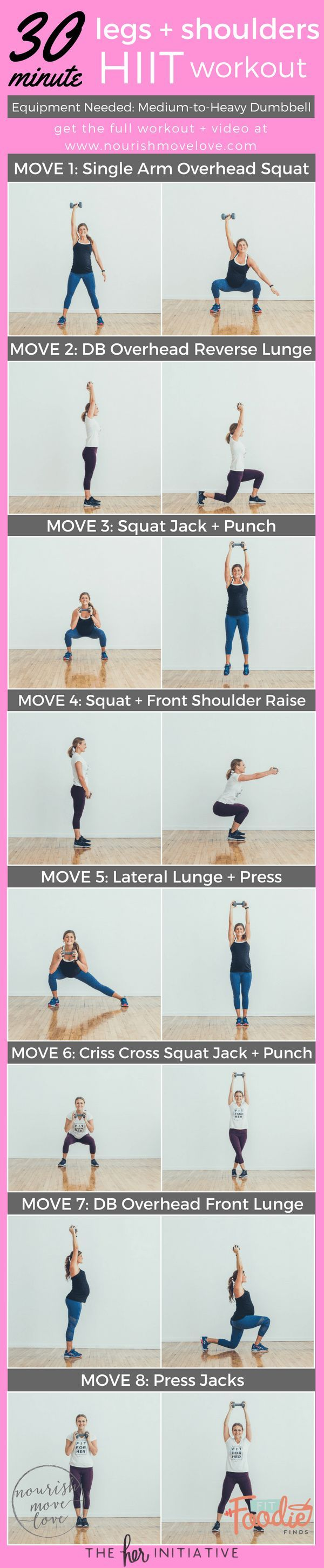 Tone your thighs and get lean shoulders by summer with this 30 Minute Legs + Shoulders HIIT Workout. Perfect naptime workout! | www.nourishmovelove.com