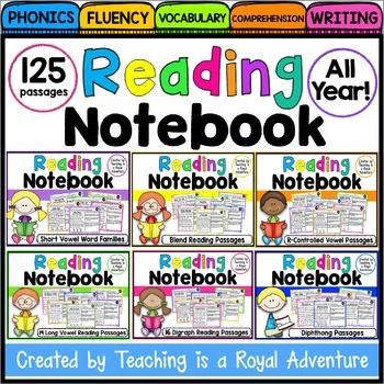 Fluency and Skill Based Reading Passages Comprehension Notebook:  ALL YEAR How it works: SAVE $$$ when buying the BUNDLE!  Includes 125 skill based reading passages for the ENTIRE year!!!   Each reading passage focuses on: * Phonics * Reading Comprehension* Fluency* Vocabulary* Writing What is included? * 125 skill based reading passages* Word Sort for each pattern* Writing Activity for each pattern(Students write the words found in the passage and a sentence using one or more of the…