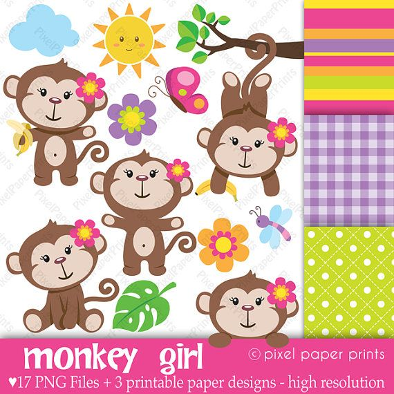 Hey, I found this really awesome Etsy listing at https://www.etsy.com/listing/73484999/monkey-girl-clip-art-and-digital-paper