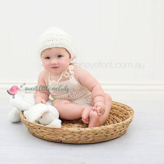 Baby Bonnet & Romper Baby Photo Prop Newborn by SweetLittleMelody