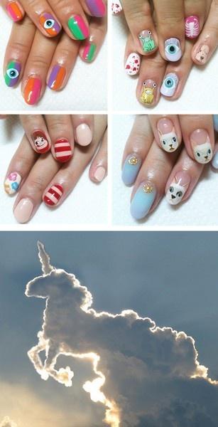 nails nails nails.Nails Inspiration, Beautify Nails, Nails Nails, Nails Art, Unicorns Clouds, Nails Polish, Random Pin, Cat Nails, Evil Eye