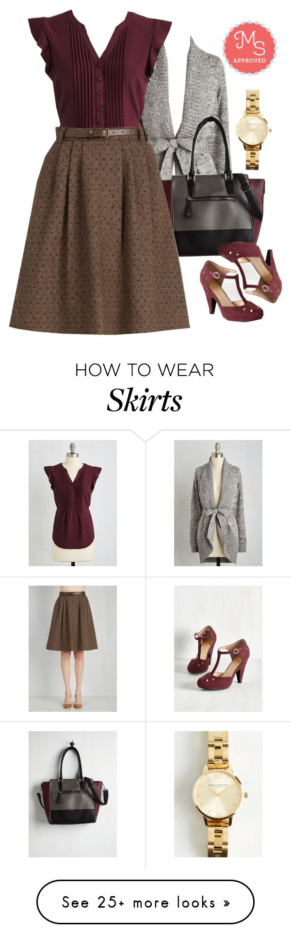 """""""Mentor of Attention Skirt"""" by modcloth on Polyvore featuring moda e Olivia Burton"""
