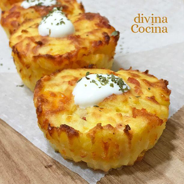 Estos muffins de patata y queso son perfectos para acompañar con huevos y carnes, o para tomar solos como entrante. La receta es muy sencilla.