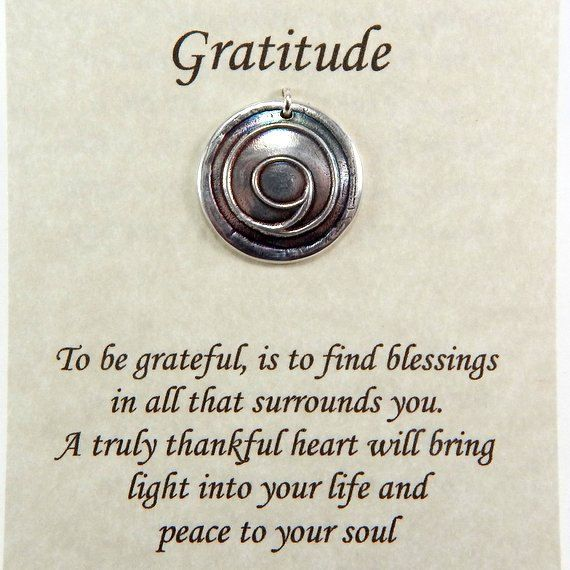 Gratitude Pendant, Inspirational Jewelry, Gratitude Symbol, Thankful Jewelry, Fine Silver Necklace