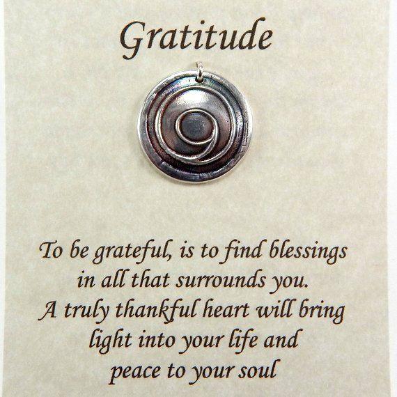 Gratitude Pendant, Inspirational Jewelry, Gratitude Symbol, Thankful Jewelry, Fine Silver Necklace